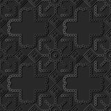 dunkle Papierkunst 3D rundes Kontrollquadrat-Kreuz Dot Line Frame vektor abbildung