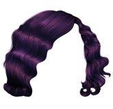 Dunkle purpurrote Farben der modischen Frauenhaare Modeschönheitsretrostil realistisches 3d vektor abbildung