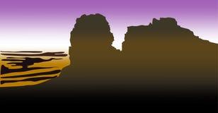 Dunkle Schattenbilder des Hochgebirges mit Wüste auf blauem ackground Auch im corel abgehobenen Betrag vektor abbildung