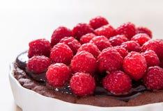 Dunkle Schokolade und frisches Himbeertörtchen/Kuchen/Torte Lizenzfreies Stockfoto