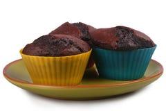 Dunkle Schokoladen-Muffins Lizenzfreies Stockfoto