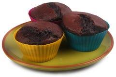 Dunkle Schokoladen-Muffins stockbilder