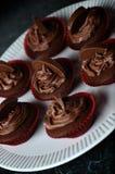 Dunkle Schokoladen-Orangen-kleine Kuchen Stockbild