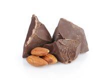 Dunkle Schokoladenklumpen mit Mandel Lizenzfreies Stockfoto