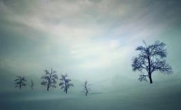 Dunkle und ruhige Herbstebenen mit bloßen Laubbäumen bei Sonnenuntergang vektor abbildung