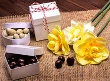 Dunkle und weiße Schokoladennüsse Lizenzfreie Stockfotos
