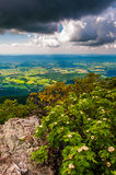 Dunkle Wolken über dem Shenandoah Valley, in Nationalpark Shenandoah, Virginia. Lizenzfreie Stockfotos