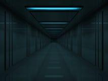 dunkler Flur 3d mit blauen Lampen auf Decke Lizenzfreies Stockfoto