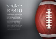 Dunkler Hintergrund des Balls des amerikanischen Fußballs Vektor Lizenzfreie Stockfotografie