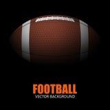 Dunkler Hintergrund des realistischen Balls des amerikanischen Fußballs Stockbild