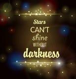 Dunkler Hintergrund mit glänzenden Sternen und Aufschrift Lizenzfreie Stockfotos