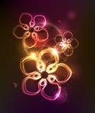 Dunkler Hintergrund mit glühender Neonblumenverzierung Stockfotos