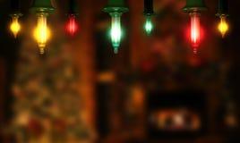 Dunkler Hintergrund mit Weihnachtslichtern und Kopienraum Feiertage c Stockbilder