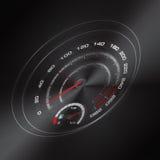 Dunkler Hintergrundvektor des Autogeschwindigkeitsmessers Stockfotos