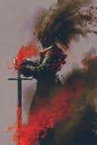 Dunkler Krieger in der Rüstung mit der Klinge lizenzfreie abbildung