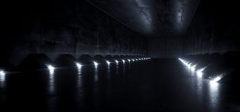 Dunkler leerer Schiffs-Korridor-Tunnel-Schmutz-konkretes Material Sci FI futuristischer moderner ausländischer und weiße geführte lizenzfreie abbildung