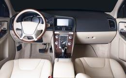 Dunkler Luxusauto Innenraum Stockbilder