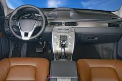 Dunkler Luxusauto Innenraum Stockfotos