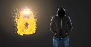 Dunkler Mann ohne Gesicht und brennende Flamme schließen das Glühen zu Lizenzfreie Stockfotos
