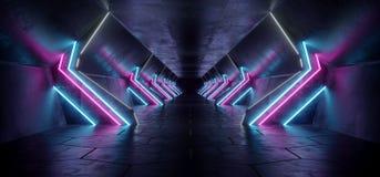 Dunkler moderner futuristischer ausländischer reflektierender konkreter Korridor-Tunnel stock abbildung