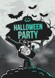 Dunkler Papierschläger Zombiehandgriff ein Bier, ein Baum und Schläger Halloween-Plakatschablone Auch im corel abgehobenen Betrag stock abbildung