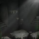 Dunkler Raum mit sich hin- und herbewegenden Inseln Stockfoto