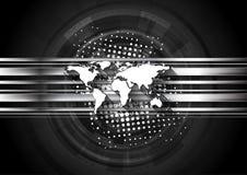 Dunkler Technologiehintergrund mit Weltkarte stock abbildung