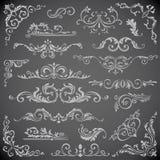 Dunkler Vektorsatz Strudel-Elemente für Feld-Design Kalligraphische Seitendekoration, -aufkleber, -fahnen, -antike und -barock Lizenzfreies Stockbild
