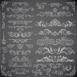 Dunkler Vektorsatz Strudel-Elemente für Feld-Design Kalligraphische Seitendekoration, -aufkleber, -fahnen, -antike und -barock Lizenzfreie Stockfotografie