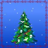Dunkler Weihnachtsbaum mit den menschlichen Schädeln, Schläger und Wörter hasse ich Weihnachten Stockfotos