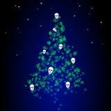 Dunkler Weihnachtsbaum mit Marihuanablättern und den menschlichen Schädeln Stockbilder