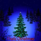 Dunkler Weihnachtsbaum mit Wörtern hasse ich Weihnachten Stockbild