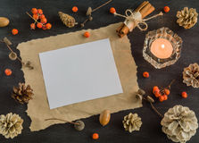 Dunkler Weihnachtshintergrund mit Kerzen und Beeren der Eberesche Feld für Text Kegel der weißen Kiefer Verzweigt sich Eicheln Stockfotos