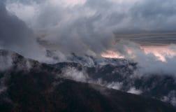 Dunkler Wolkenhimmel des Baums von Toskana lizenzfreies stockfoto