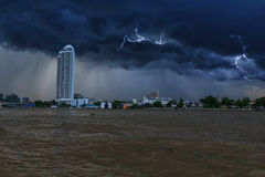 Dunkler Wolkensturm in der Stadt nahe dem Fluss Lizenzfreie Stockfotografie