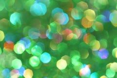 Dunkles abstraktes Grünes, rot, gelb, Türkisfunkelnhintergrund-Weihnachtsbaum-abstrakter Hintergrund Stockbilder