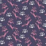 Dunkles elegantes Muster mit den Rosa- und weißenblumen lizenzfreie abbildung