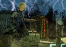 Dunkles Fantasieporträt einer futuristischen Frau in einer goth Stadt Lizenzfreies Stockfoto