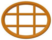 Dunkles hölzernes ovales Fenster Stockbilder