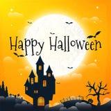 Dunkles Haus auf blauem Vollmond Glückliches Halloween Lizenzfreie Stockfotos