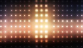 Dunkles leeres Stadium, multi Farbe des Neonscheinwerfers, Nachtansicht lizenzfreie abbildung