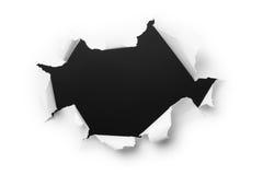 Dunkles Loch im Weißbuch Lizenzfreie Stockfotos