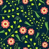 Dunkles Muster mit Blumen und Gras Lizenzfreie Stockfotografie