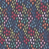 Dunkles Muster mit Verwirrung von Herzen, von Punkten und von Formen lizenzfreie abbildung