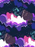 Dunkles nahtloses Muster der Galaxievektorkarikatur-Illustration stock abbildung