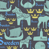Dunkles nahtloses Muster mit Symbolen von Schweden Stockfoto