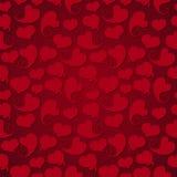 Dunkles nahtloses Muster Rote Herzen mit Schatten auf a Stockfotografie