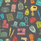 Dunkles nahtloses Muster von Haushaltsgeräten Stockbilder