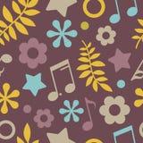 Dunkles nahtloses Muster von Sternen, von Anmerkungen und von Blättern Lizenzfreies Stockfoto