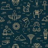 Dunkles nahtloses Muster von Symbolen, von Marksteinen und von Zeichen von Ägypten von den Ikonen in einer Linie Art lizenzfreie abbildung